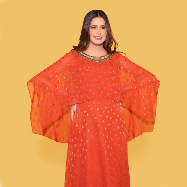 ORANGE MAXI DRESS (SWI2010MD79)