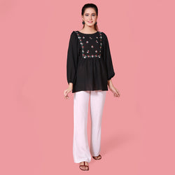 BLACK EMBROIDERED TOP (SFA2008TU29)