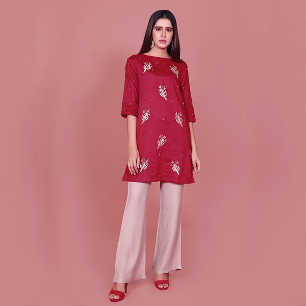 RED EMBROIDERED DRESS (SE22007DR23)