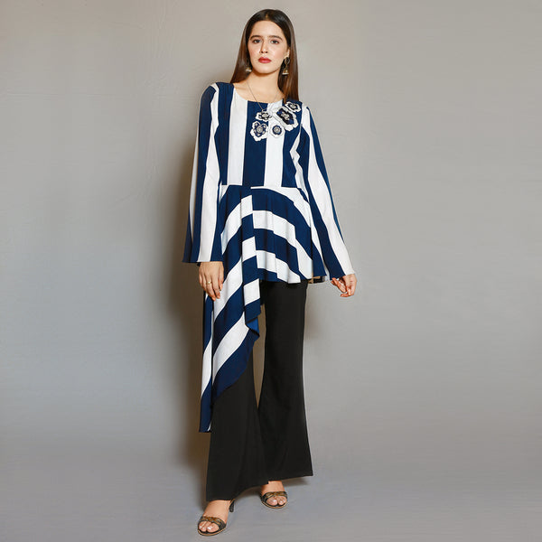 WHITE & NAVY STRIPES EMBROIDERED DRESS