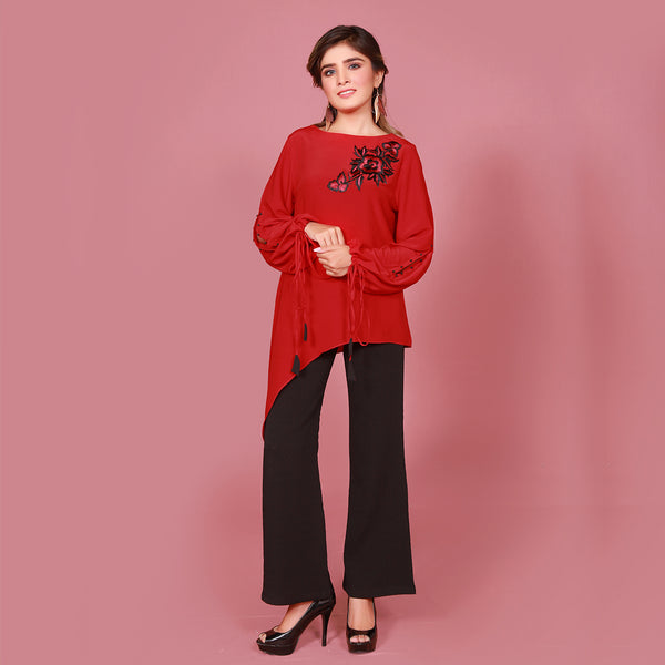 RED EMBROIDERED TOP (SSF2007TU01)