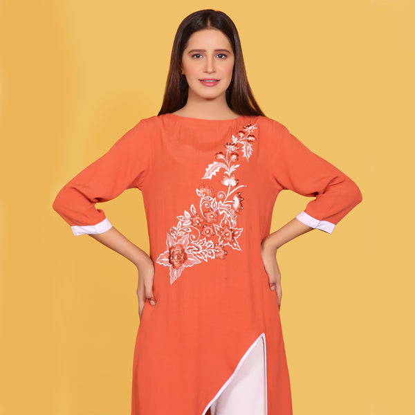 ORANGE EMBROIDERED DRESS (SFA2009DR34)