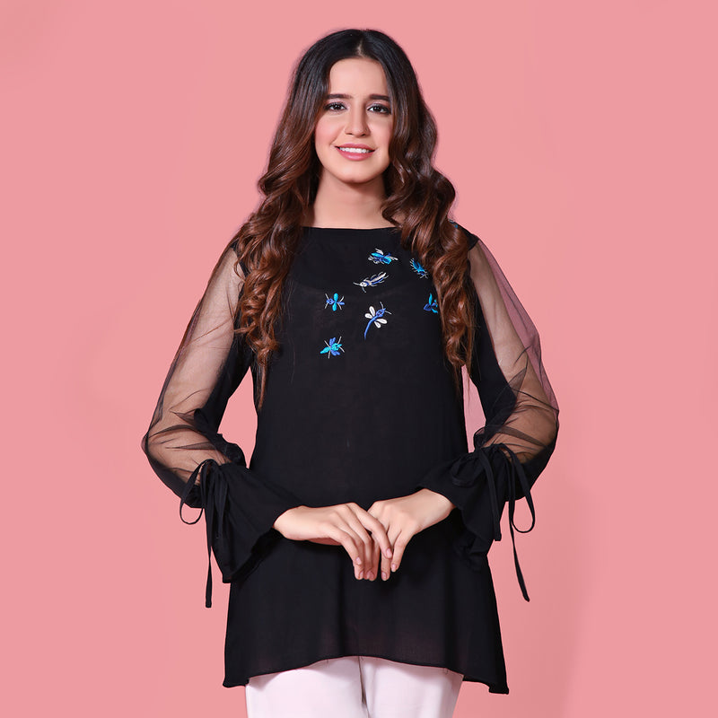 BLACK EMBROIDERED TOP (SFA2008TU27)