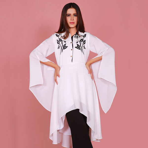 WHITE EMBROIDERED DRESS (SE22007DR15)
