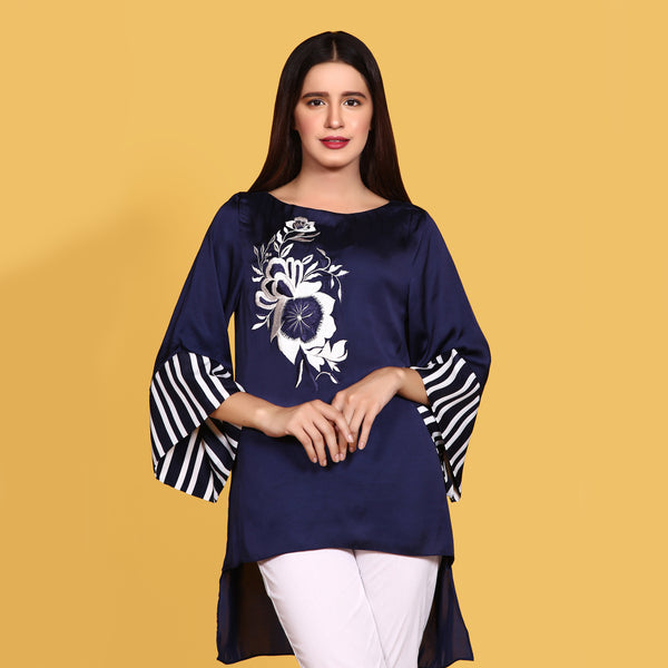 NAVY BLUE EMBROIDERED TOP (SWI2010TU23)