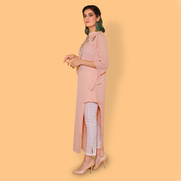 PEACH EMBROIDERED DRESS (SSP2101DR05)