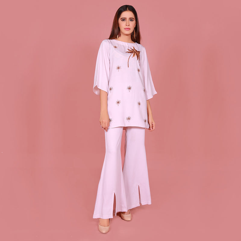 POWDER PINK EMBROIDERED TWO PIECE SUIT (SFA2008SU21)