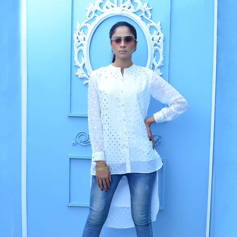 WHITE BUTTON DOWN TOP (SSP2101TU70)