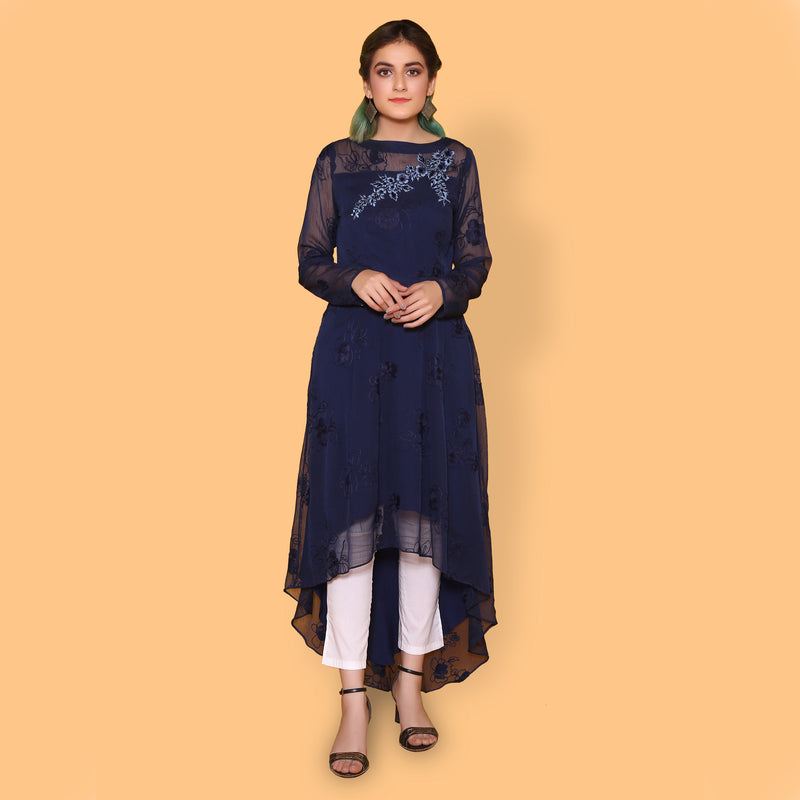 NAVY EMBROIDERED MAXI (SWI2010MD88)