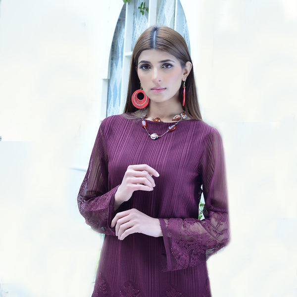 MAROON NET TWO PIECE SUIT (SSP2101SU64)