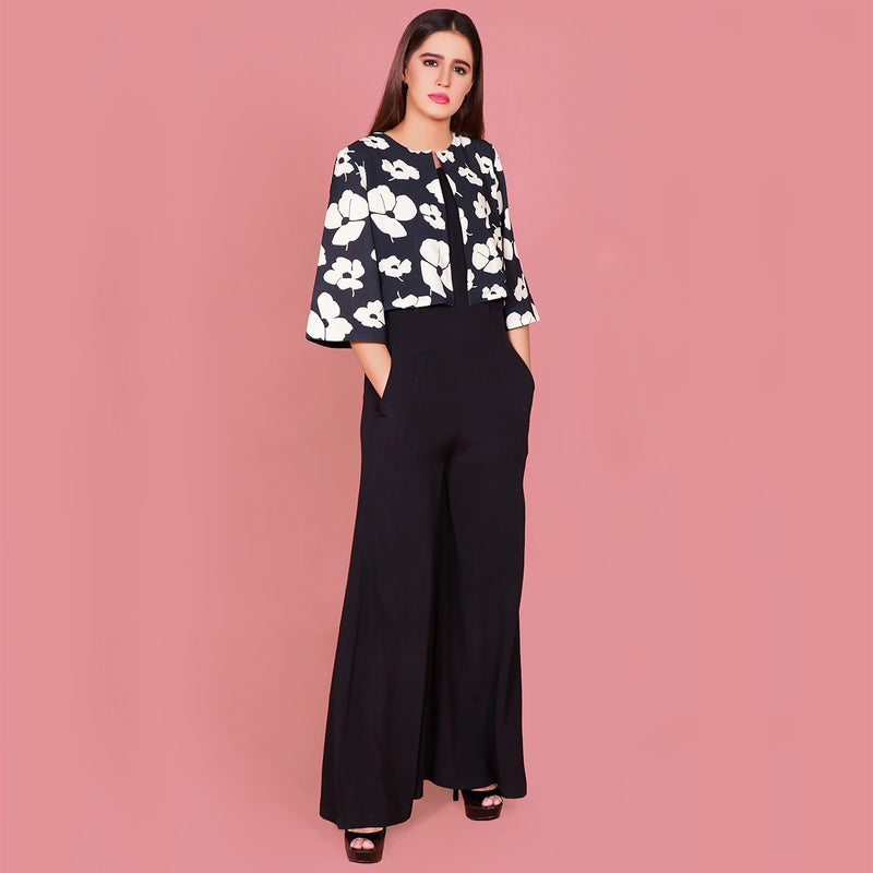 BLACK JUMPSUIT WITH PRINTED BLAZER (SWI2010JS11)