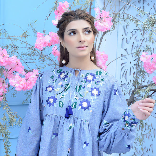 BLUE EMBROIDERED TOP (SSP2102TU18)