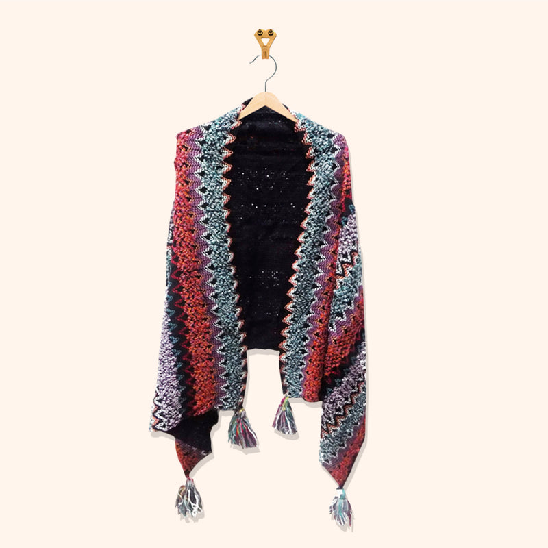 MULTI COLOR CAPE WITH TASSEL