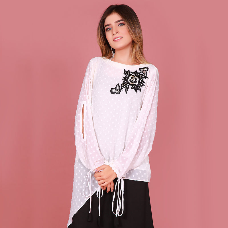 WHITE EMBROIDERED TOP (SFA2009TU45)