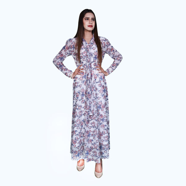 FLORAL NET MAXI DRESS (SSP2001MD56)
