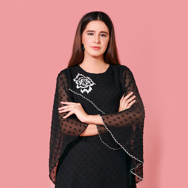 BLACK EMBROIDERED DRESS (SFA2008DR10)