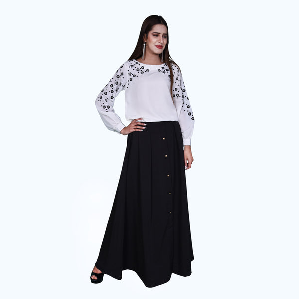 BLACK BUTTON DOWN SKIRT (SSP2001SK57)