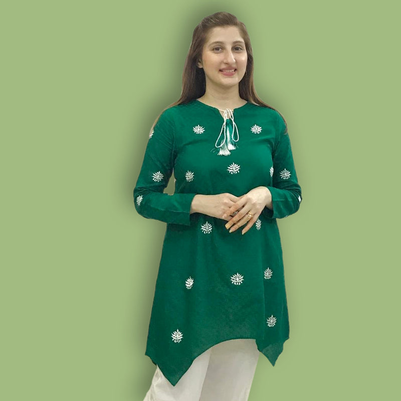 GREEN EMBROIDERED DRESS (SFA2008DR08)