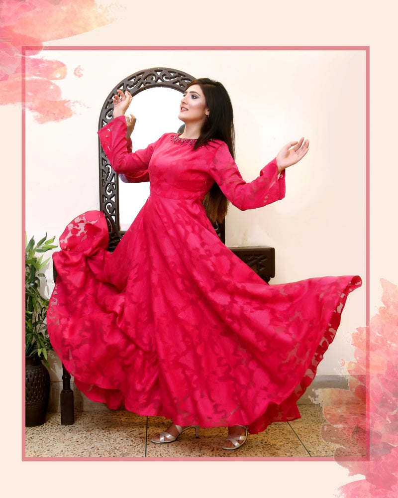 HOT PINK  MAXI DRESS (SWI2010MD28)