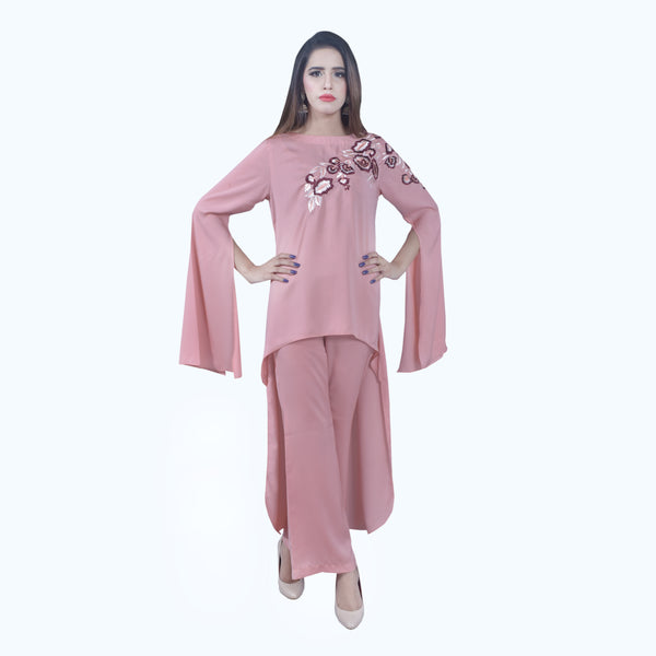 PEACH EMBROIDERED TWO PIECE SUIT (SSP2001SU36)