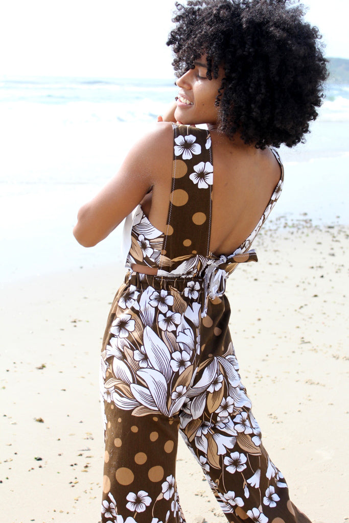 Brown and White Flower Power Jenni Jumpsuit