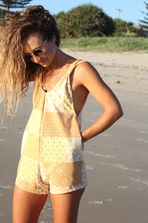 Orange Patchwork Arlo Romper