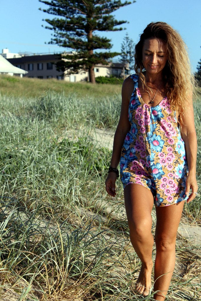 Brown, Blue, Pink Arlo Romper