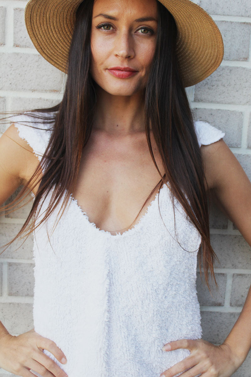Fluffy White Terry Arlo Romper
