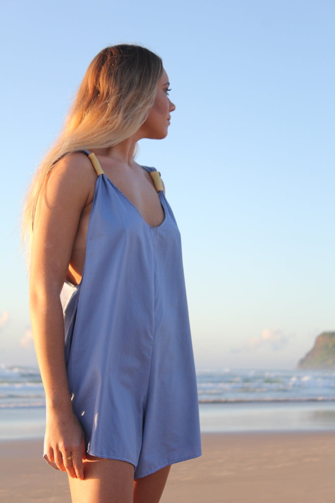Plain Blue Arlo Romper