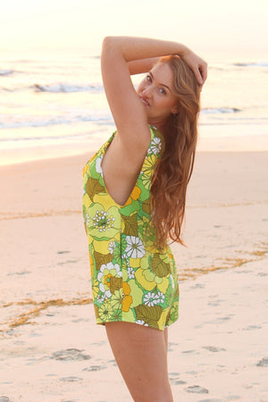 Green Flower Power Arlo Romper