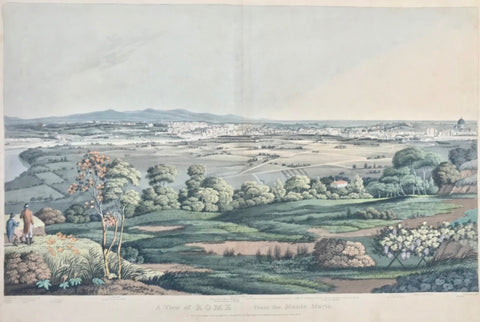 """A View of Rome From the Monte Mario""  Aquatinta by Matthew Dubourg (1786-1838)  After the drawing by J. J. Middleton  Published in: ""Grecian Remains in Italy, a description of Cyclopean Walls , and of Roman Antiquities with Topographical and Picturesque Views of Ancient Latium""  By Edward Orme  London, 1812  One of altogether 4 originally hand-colored views  The ""Eternal City"" - Rome - in the distance, seen from Monte Mario, located in the N.W. of Rome."