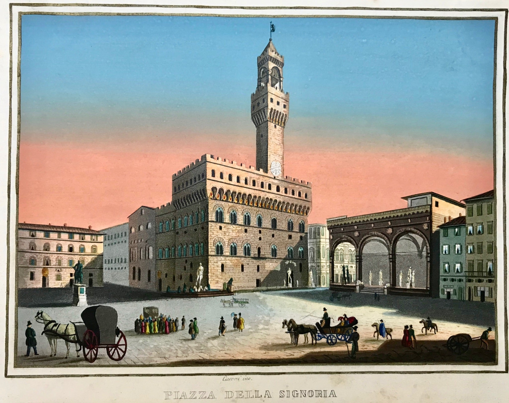 """Piazza della Signorina"".  Aquatinta by Guido Carrocci. Superb gouache hand coloring. Ca. 1810. From a series of 31 views by Carrocci."