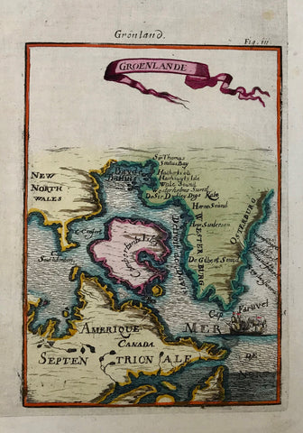 Groenlande  Copper etching after Mallet, 1685. Modern hand coloring. Brown spot on upper right margin edge.  This interesting map shows the southern part of Greenland as well as northeast Canada.