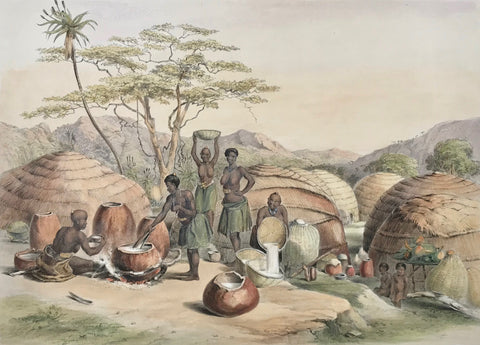 "Plate XXVII -  ""Kafir Kraal, near the Umlazi River, Natal""  Toned lithograph and hand-colored, heightened with gum arabic  After the drawing by George French Angas (1822-1886)  Lithographer: not named  Clean. Some minor traces of age and use in margins.  Image size 25 x 34,4 cm (ca. 9.8 x 13.5"")"