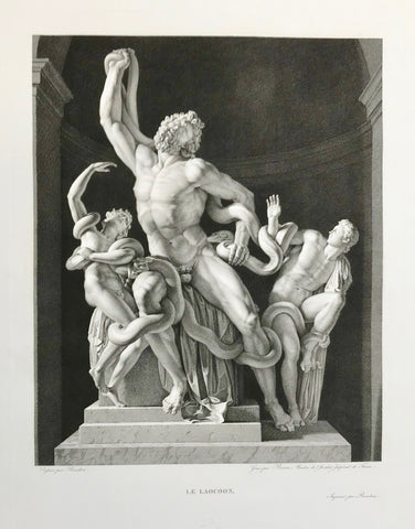 """Le Laocoon""  Laokoon  Very fine copper etching by Charles-Clement Bervic (1756-1822)  After the drawing by Pierre Bouillon (1776-1831)  Published in Musée des Antiques; Recueil Des Plus Beaux Tableaux, Statues, et Bas-Reliefs Qui Existaient Au Louvre Avant 1815. by Jean Duchesne Aine (author) Henri-Guillaume Chatillon (1780 - 1856) artist and engraver.  Paris, ca. 1825"