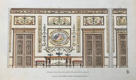 "Fol. 42: Doors, some furniture, wall decoration (frescos)  Hand-colored copper etching by Michel Angelo Pergolesi.  Personal biographical details are missing. But Pergolesi moved from Italy to England, where he published his classicistic architectural designs in his book  ""Designs for various ornaments"""