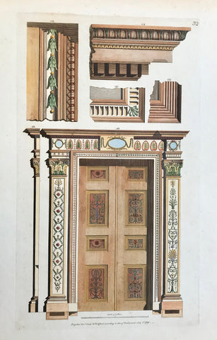 "Fol. 22: Door and door frames.  Hand-colored copper etching by Michel Angelo Pergolesi.  Personal biographical details are missing. But Pergolesi moved from Italy to England, where he published his classicistic architectural designs in his book  ""Designs for various ornaments""  London, 1791  Pergolesi's mentor was the neoclassical architect and furniture designer Robert Adam."