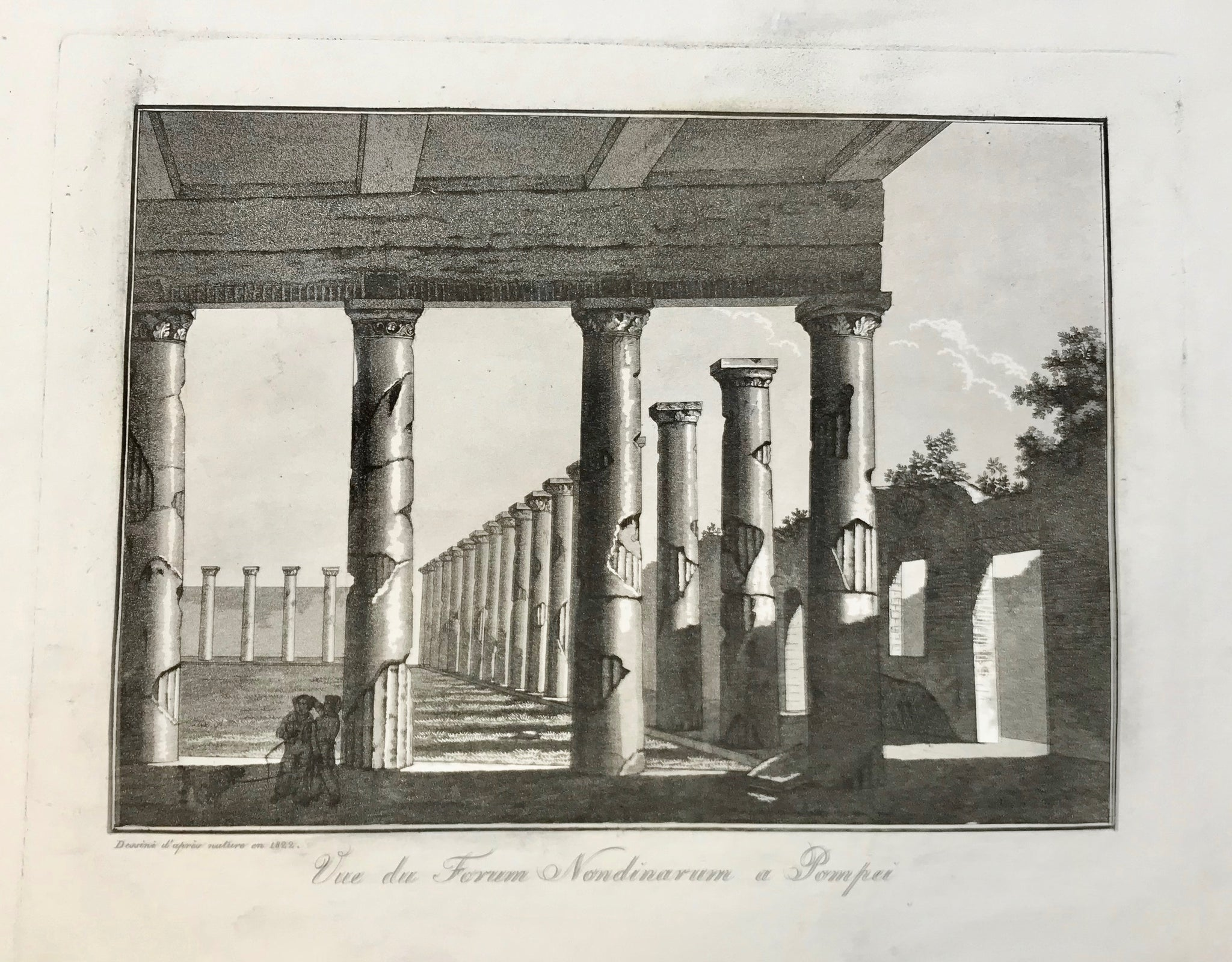 """Vue du Forum Nondinarum a Pompeii""  Image: 20.5 x 28 cm ( 8 x 11 "")   Aquatints engraved by Paul Fumagalli from 1821-1825  These prints with their velvety aquatint appearance were made to delight our hearts."