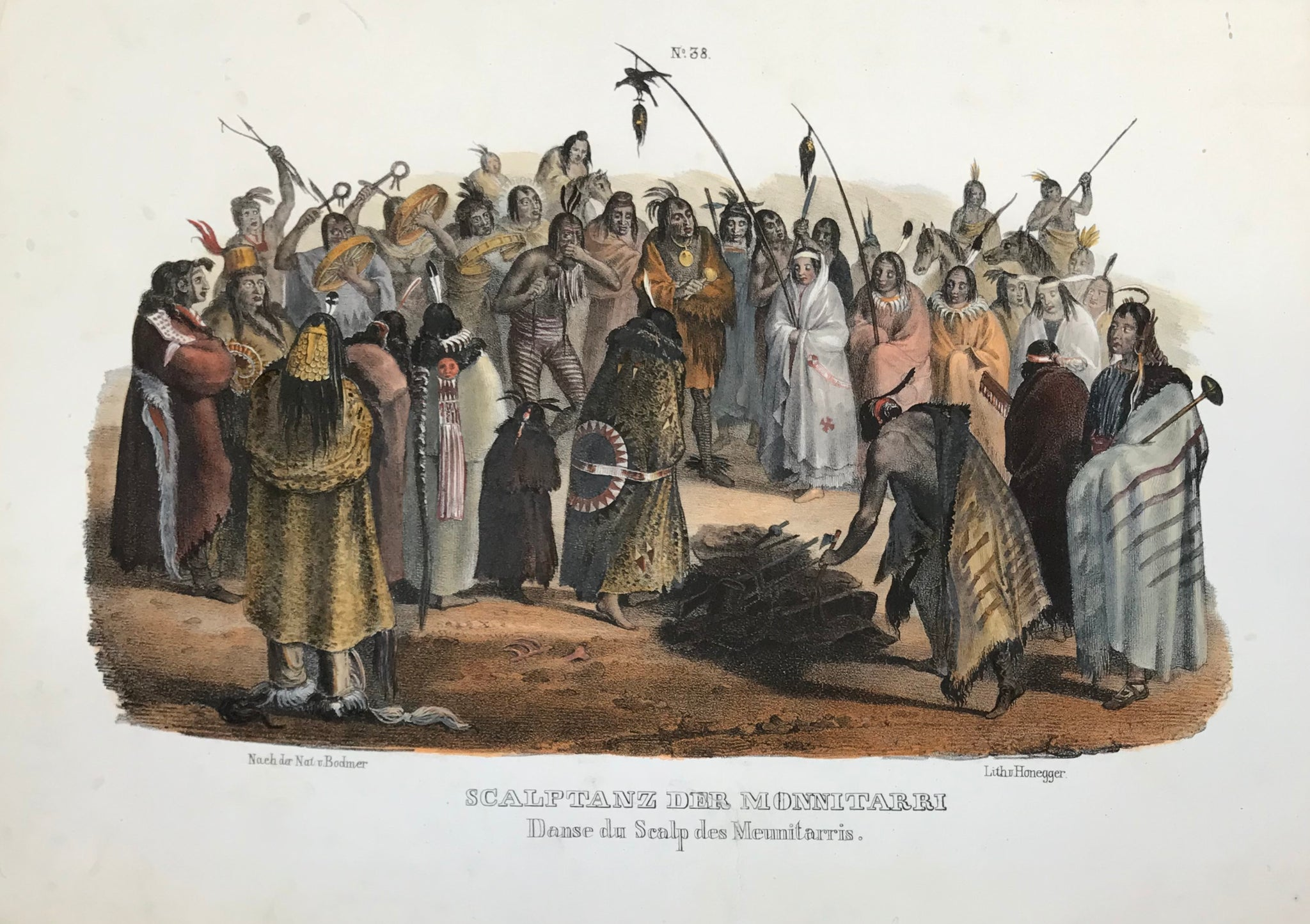 "The following lithographs of plains Indians and their culture were printed in  ""Naturgeschichte und Abbildungen des Menschen und der verschiedenen Rassen und Staemme nach den neuesten Entdeckungen und vorzueglichsten OriginalenÉ""  by Heinrich Rudolf Schinz (1777-1861).  These lithographs of Native Americans were done by  the lithographer J. Honegger  after  Johann Carl Bodmer (1809-1893), who had traveled in America together with  Prince Maximilian Alexander Philipp zu Wied-Neuwied (1782-1867) from 1832-34."