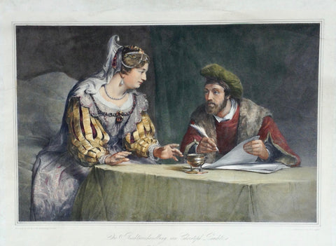 """Die Rechtsverhandlung"" Legal consultation.  A high class lady seeks advice from an attorney. Very well hand-colored lithograph by Franz Hanfstaengl (1804-1877) after the painting by Christoph Pauditz (1630-1666) Lithograph is printed on China paper and rolled upon strong paper. Very light general age toning. Minimal signs of age and use in margins. Dry stamp of publisher at bottom center. Published by Hanfstaengl in his monumental grand folio size work: DresdenGallery Hanfstaengl produced 195 lithographs f"
