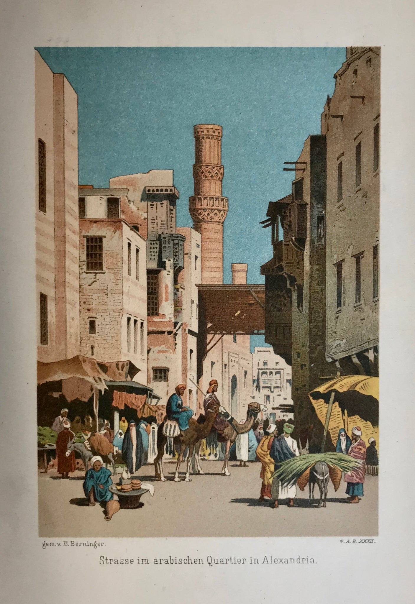 """Strasse im arabischen Quartier in Alexandria""  Chromolithograph after E. Berninger, 1885."