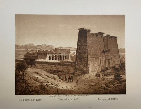 """Le Temple d'Edfu Tempel von Edfu Temple of Edfou""  Anonymous lithograph printed in a very pleasant sepia tone. Published 1889. Included is an extra page of text in German about the Temple of Edfou.  10.5 x 14.5 cm ( 4.1 x 5.7 "")"