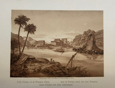 Temple, d'Isis, Isle of Philae with Isis Temple  Anonymous lithograph printed in a very pleasant sepia tone. Published 1889.