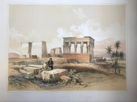 """Philae""  Type of print: Lithograph  Color: Toned and Hand-colored  Artist: Henry Pilleau (1813-1899)  Lithographed by: Dickinson & Son  Where: London  When: 1845"