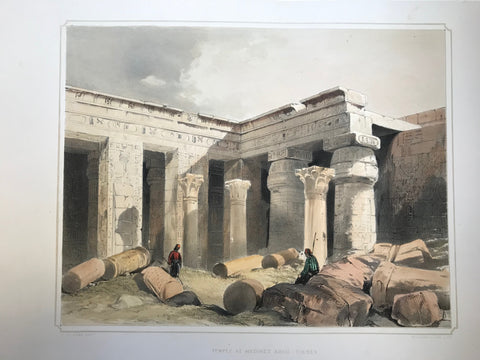 """Temple at Medinet Abou Thebes""  Type of print: Lithograph  Color: Toned and Hand-colored  Artist: Henry Pilleau (1813-1899)  Lithographed by: Dickinson & Son  Where: London  When: 1845"