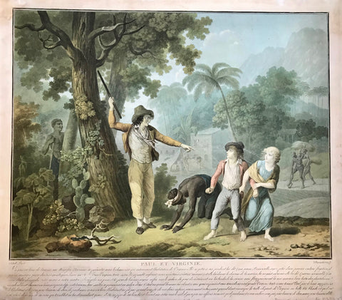 Paul et Virginie, a pastoral novel by Jacque-Henri Bernardin de Saint-Pierre, was published in 1788. It treats the tragic love between two children on the Island of Mauritius.  Jean-Frédéric Schall (1752 - 1825) created a set of six designs to illustrate this book for the 1797 edition. These aquatints were masterfully engraved in color by Charles Melchior Descourtis (1753 - 1820).
