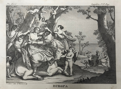 Europa  Copper engraving after a painting by P. Caliari detto il Veronese, ca 1750. A few light spots in margins.