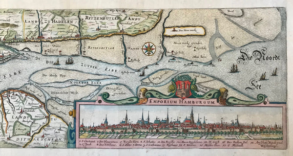 """Nobilis Fluvius Albis maxima cura ex variis famosisque Auctoribus collectus et in lucem editus""  Beautifully hand-colored, very detailed antique map (copper etching) showing the run of the river Elbe from Marschacht (ca. 30 Km east of Hamburg) to Cuxhaven, where the river empties in form of an estuary into the North Sea. From Cuxhaven to Hamburg is the stretch of the river which all ships have to go through in order to reach the international harbor of Hamburg."