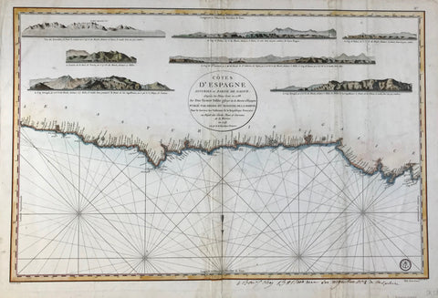 Hand-colored copper etching by Bouclet. Published on behalf of the French Ministry of the Marine. Paris, 1793  Map reaches from Cabo Prieto in the east to Cabo Ortegal, the northernmost landmark of Spain. There are 7 coastal elevation profiles shown.