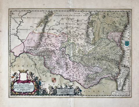 """Episcopatus Balbastrensis Ribagorca Comit. et Sobrarbe""  Copper engraving by Joannes Bleau and Joanne Baptista Labanna.  Published 1664. Original hand coloring. The crown has gold highlighting in the decorative catouche.  Map shows northern Spain around Huesca. In the lower right is the Valle de Aran."